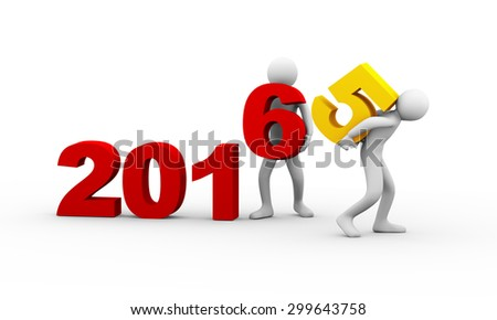 3d illustration of man taking away number 5 of year 2015 while another person placing digit 6. 3d rendering of human people character - stock photo