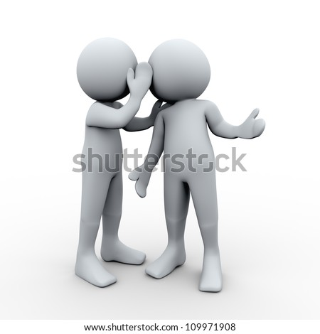 3d Illustration of man whispered a secret in other man's ear. 3d rendering of human character - stock photo