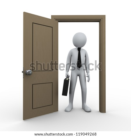 3d Illustration of man with briefcase standing in front of open door. 3d rendering of human character businessman. - stock photo