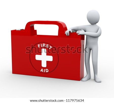 3d illustration of man with first aid box.  3d rendering of human character.
