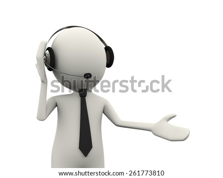 3d illustration of man with headset headphone presentation of customer help support. 3d human person character and white people - stock photo