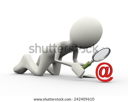 3d illustration of man with magnifying glass looking at email sign symbol. 3d human person character and white people - stock photo