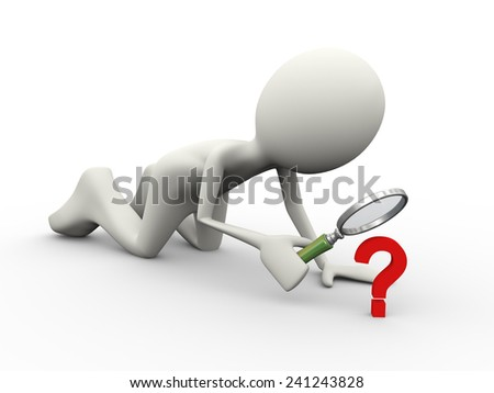 3d illustration of man with magnifying glass looking at question mark sign symbol. 3d human person character and white people - stock photo
