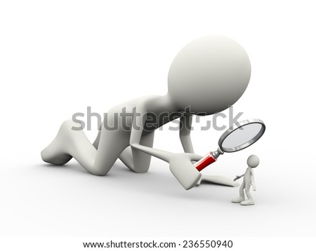 3d illustration of man with magnifying glass looking at small person. 3d human person character and white people - stock photo