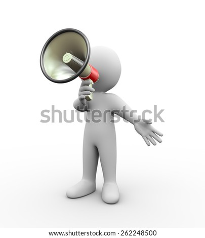 3d illustration of man with megaphone shouting. 3d rendering of human people character - stock photo