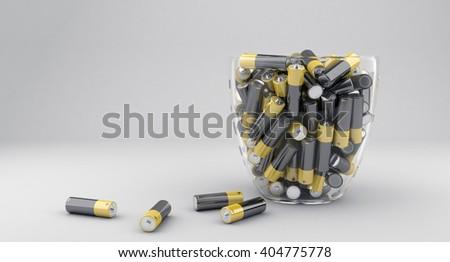 3d illustration of many batteries in glass vase