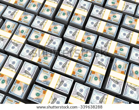 3d illustration of many dollars heap background - stock photo