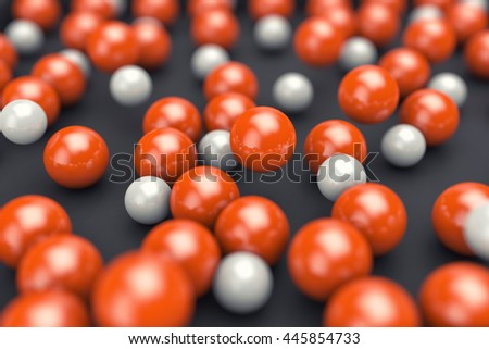 3d illustration of many white and orange balls