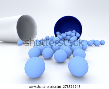 3D illustration of medical pill with small capsules isolated - stock photo