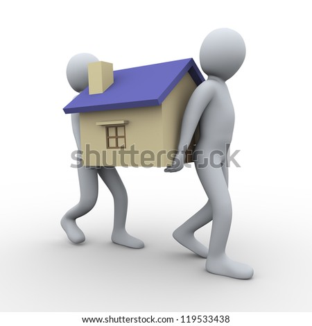 3d illustration of men carrying house. 3d rendering of human character. - stock photo
