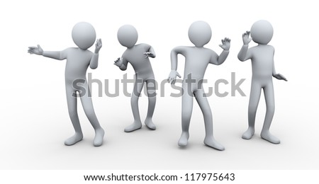 3d illustration of men dancing in the party. 3d rendering of human character