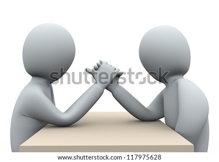3d illustration of men doing arm wrestling.  3d rendering of human character. - stock photo