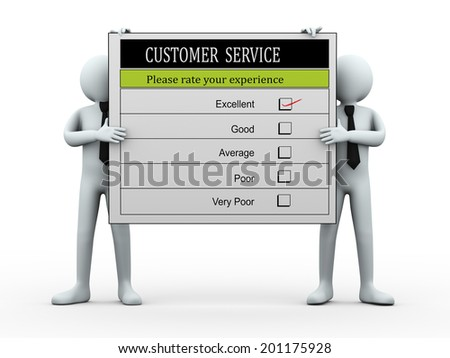 3d illustration of men holding customer service satisfaction survey form.  3d rendering of human people character. - stock photo