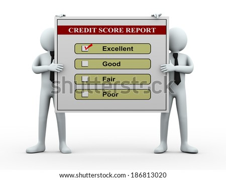 3d illustration of men holding good credit score report.  3d rendering of human people character. - stock photo