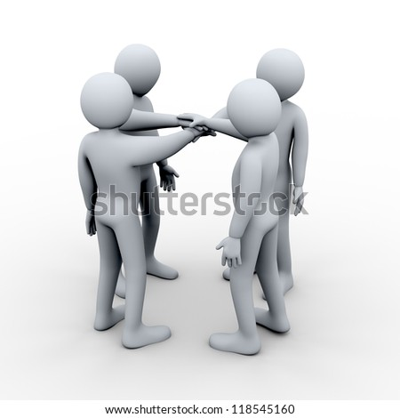 3d illustration of men joining hands. Concept of teamwork. 3d rendering of human character.