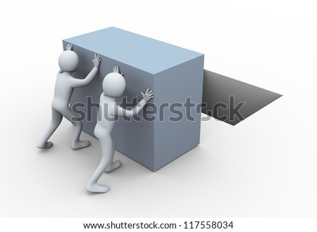 3d illustration of men pushing large cube.  3d rendering of human character.