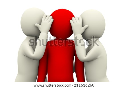 3d illustration of men secret whispering to unique red person. 3d rendering of human people character. - stock photo