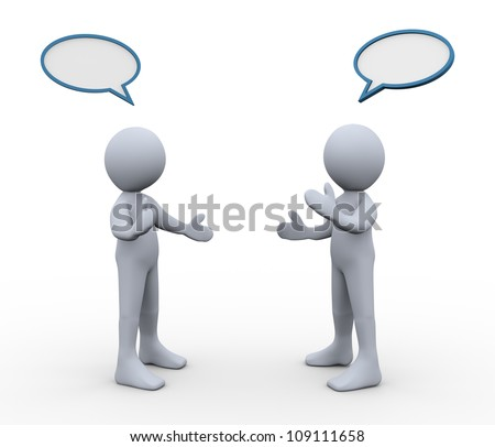 3d illustration of men with bubble speech talking to each other. 3d rendering of human figure. - stock photo