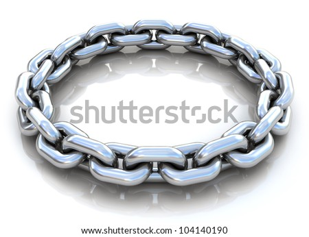 3d illustration of metal chain circle over white background - stock photo