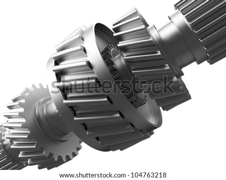 3d illustration of metal cogs on a gearwheel for transmitting torque when they mesh or engage with similar teeth on a different gearwheel