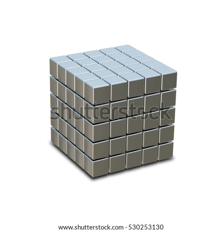 3D illustration of metal cube made of small cubes