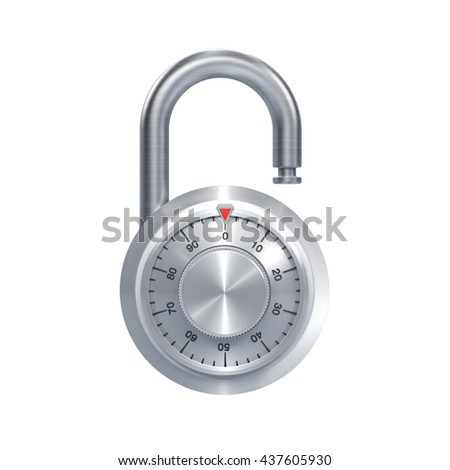 3D illustration of metal number lock