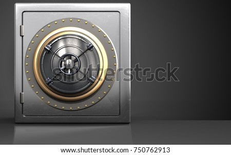 3d illustration of metal safe with closed bank door over black background