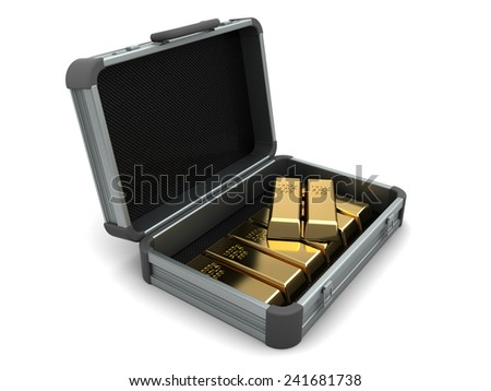 3d illustration of metal suitcase with gold, over white background - stock photo