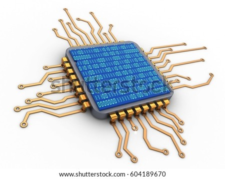 3d illustration of microchip over white background and binary code inside
