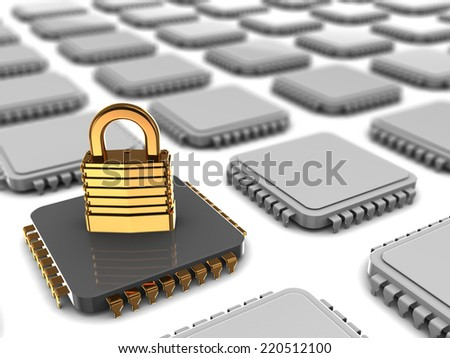 3d illustration of microchip with encoded data - stock photo