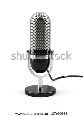 3d illustration of microphone isolated on white background - stock photo