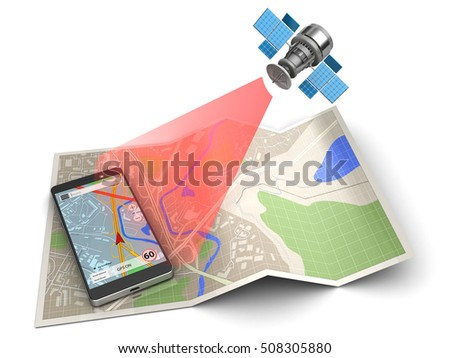3d illustration of mobile phone and satellite, over map background