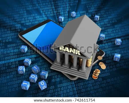 3d illustration of mobile phone over digital background with binary cubes and bank