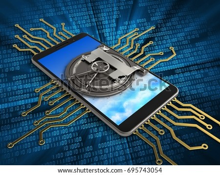 3d illustration of mobile phone over digital background with electronic circuit and vault door
