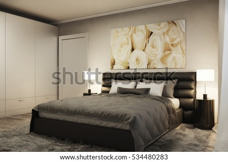 3d illustration of modern bedroom with white roses in the evening