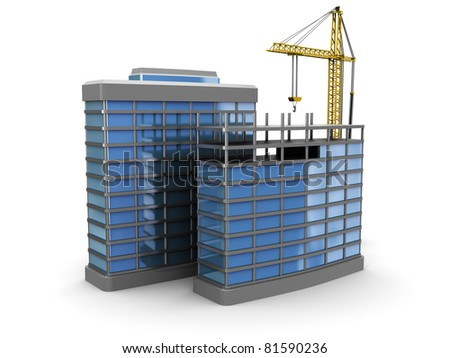 3d illustration of modern building construction over white background - stock photo