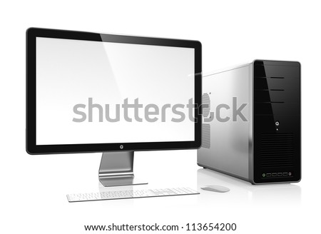 3D illustration of modern computer isolated on white background