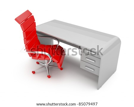 3d illustration of modern designed workplace - stock photo