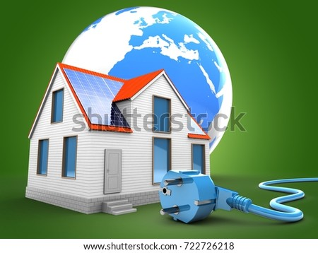 3d illustration of modern house over green background with earth and power cable