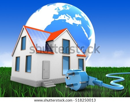 3d illustration of modern house over meadow background with earth and power cable
