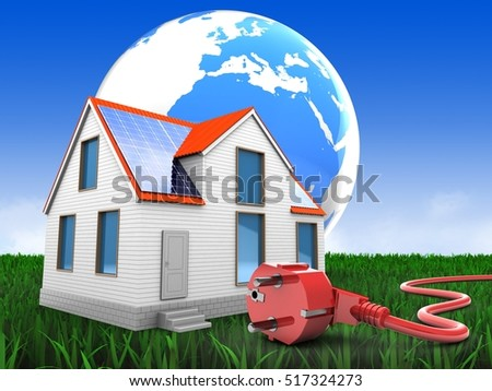 3d illustration of modern house over meadow background with earth and power cord