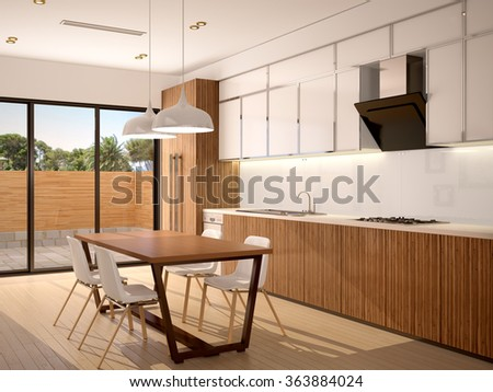 3d illustration of Modern kitchen interior and dining room in a new house in warm colors with a beautiful view outside the window - stock photo