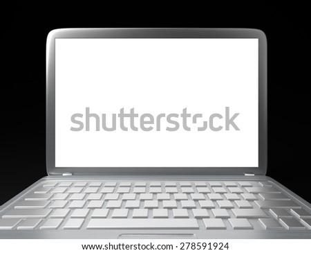 3D illustration of modern laptop PC on black background - stock photo