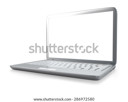 3D illustration of modern laptop PC on glass table isolated on white background - stock photo