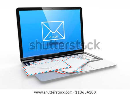 3D illustration of modern laptop with e-mail symbol on screen and letter on keyboard - stock photo
