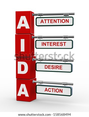 3d illustration of modern roadsign cubes signpost of aida (attention, interest, desire, action) marketing concept