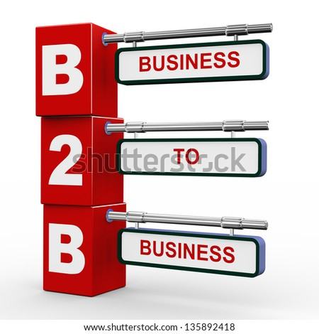 3d illustration of modern roadsign cubes signpost of b2b - business to business - stock photo