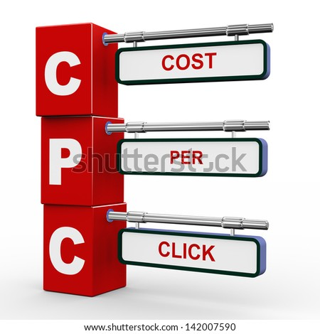 3d illustration of modern roadsign cubes signpost of cpc - cost per clcik - stock photo
