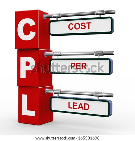 3d illustration of modern roadsign cubes signpost of cpl - cost per lead - stock photo