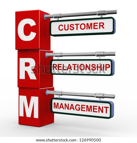 3d illustration of modern roadsign cubes signpost of crm - customer relationship Management - stock photo